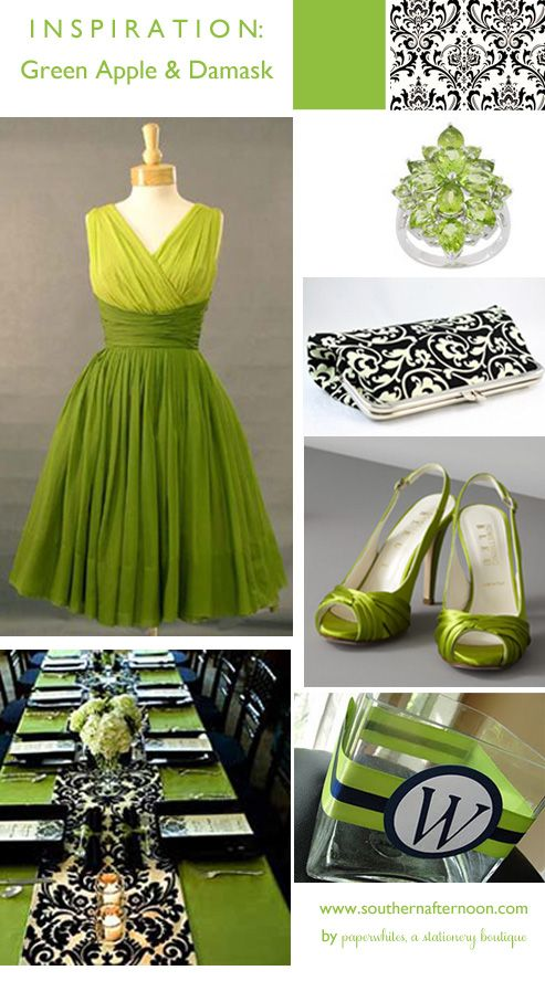 Green Apple with Black and White Damask Wedding Inspiration by paperwhites, a stationery boutique. Great bridesmaid dress, periodot ring and clutch purse