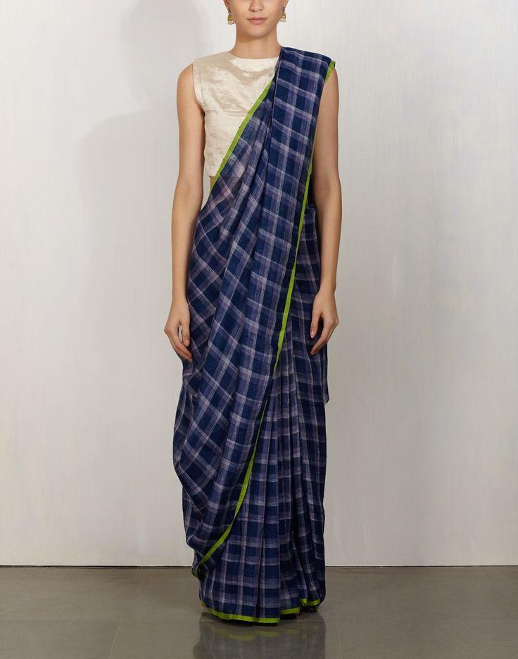Green Selvedge Indigo Plaid Saree-Anavila