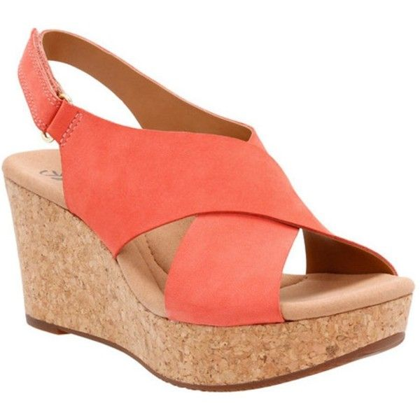 Clarks Women's Annadel Eirwyn Slingback Wedge Sandal (815 EGP) ❤ liked on Polyvore featuring shoes, sandals, coral nubuck, nubuck sandals, clarks shoes, clarks sandals, velcro shoes and ortholite sandals