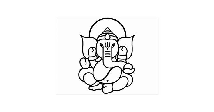 No. 3 (blanc noir) d'éléphant de Ganesha Carte Postale | Zazzle
