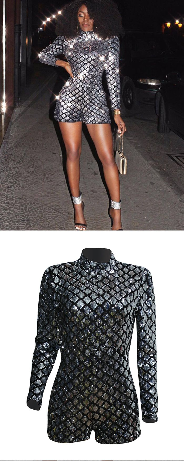 c8ee6efbe30b High Neck Fish Scale Sexy Sequin Glitter Romper with Long Sleeves Q040