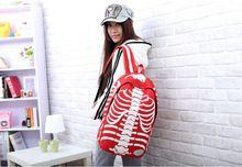 Новое поступление рюкзаки цветовой контраст уникальный скелет дизайн школьные рюкзаки Высокое качество женщины рюкзаки WW10074(China (Mainland))