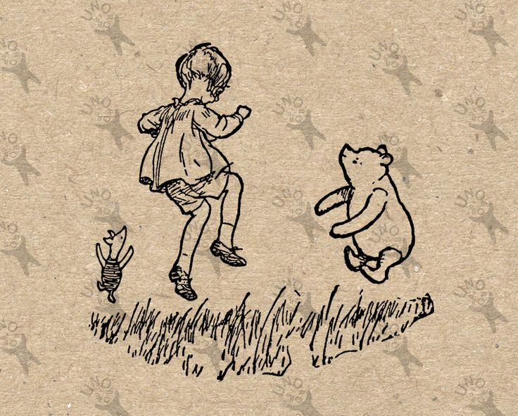 Winnie the Pooh Piglet Christopher Robin Instant Download Digital printable vintage clipart graphic home decor prints nursery jpg HQ300dpi by UnoPrint on Etsy