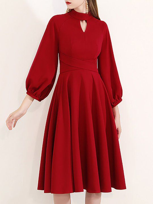 Keyhole Crimson A-Line Date Elegant Solid Midi Dress