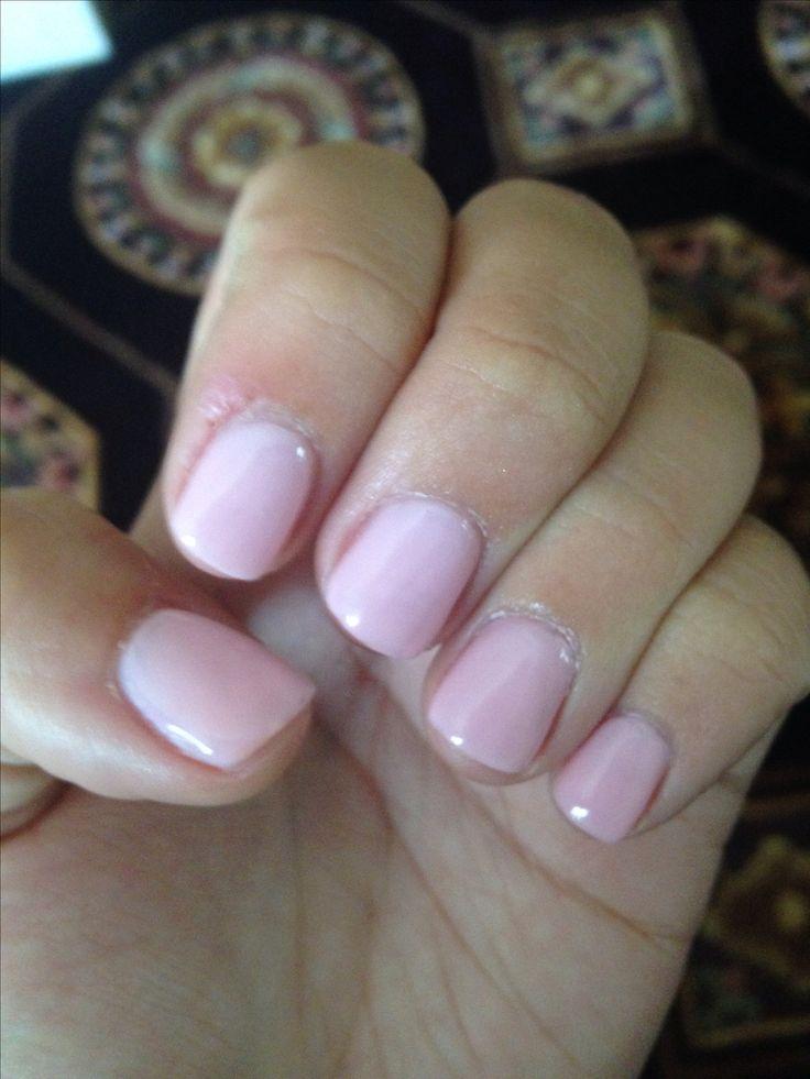 Natural nail acrylic overlay with essie guchi muchi puchi
