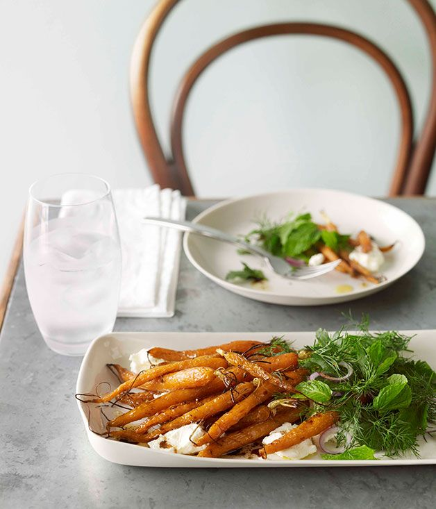 Baby carrots with labne and herb salad
