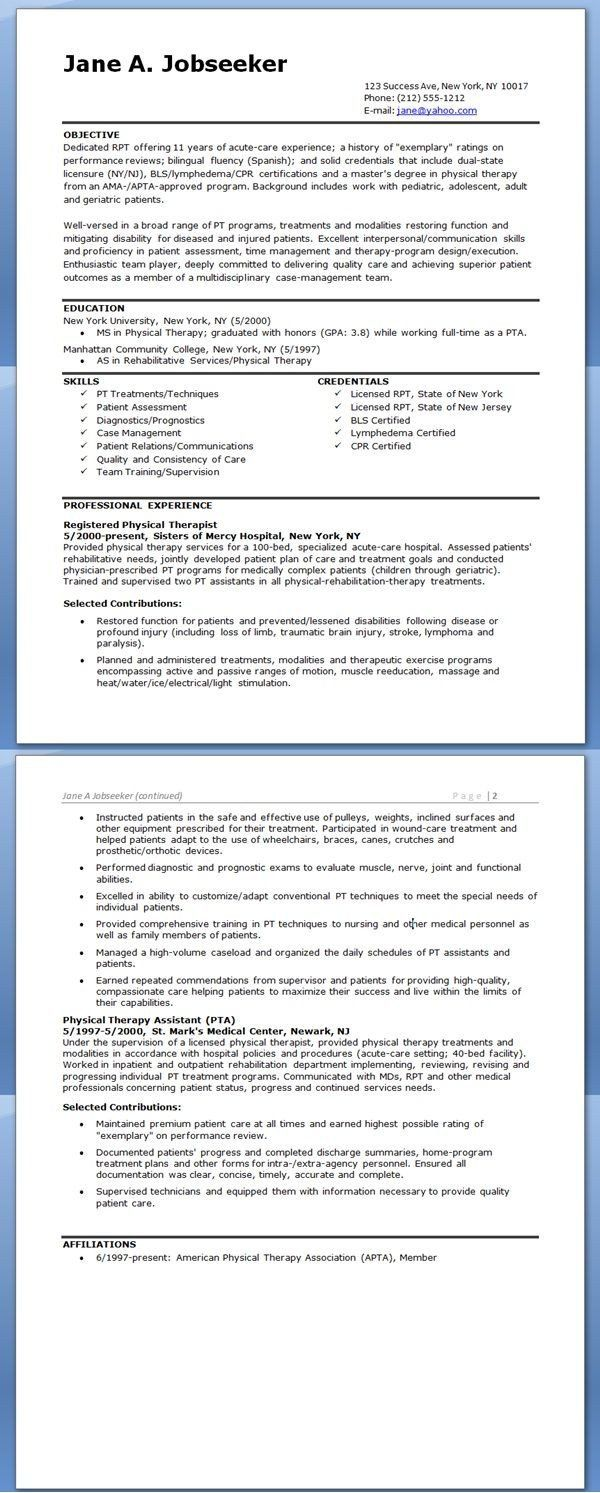 Physical Therapy Resume Example Therapist Medical Essay On