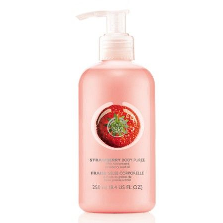 The Body Shop STRAWBERRY BODY PUREE 250ML A refreshing, lightweight gel moisturiser that absorbs easily to instantly hydrate and moisturise, leaving the skin feeling smooth, soft and delicately fragranced with the scent of strawberry. • Light and easily absorbed • Leaves skin feeling soft and smooth • Sweet strawberry scent