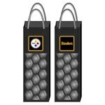 Pittsburgh Steelers Wine Bottle Chiller Bag is an officially licensed NFL wine cooler and insulated tote sure to bring Pittsburgh Steelers football team pride to any event! One side of the Pittsburgh Steelers Gel Freezer Wine Bag has the team logo; the other side has the team name. The freezable gel cooling pockets of the Pittsburgh Steelers Wine Bottle Chiller Bag keep your wine chilled and dry. You can even serve the wine without removing the bottle from the bag!