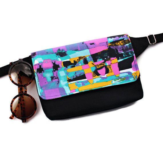 Custom Fanny Pack,Customizable Hip Bag,Fabric Waist Pouch,Vegan Hip Sack,Festival Pocket Belt,Abstract BumBag,Cell Phone Purse,Cyclist Gift