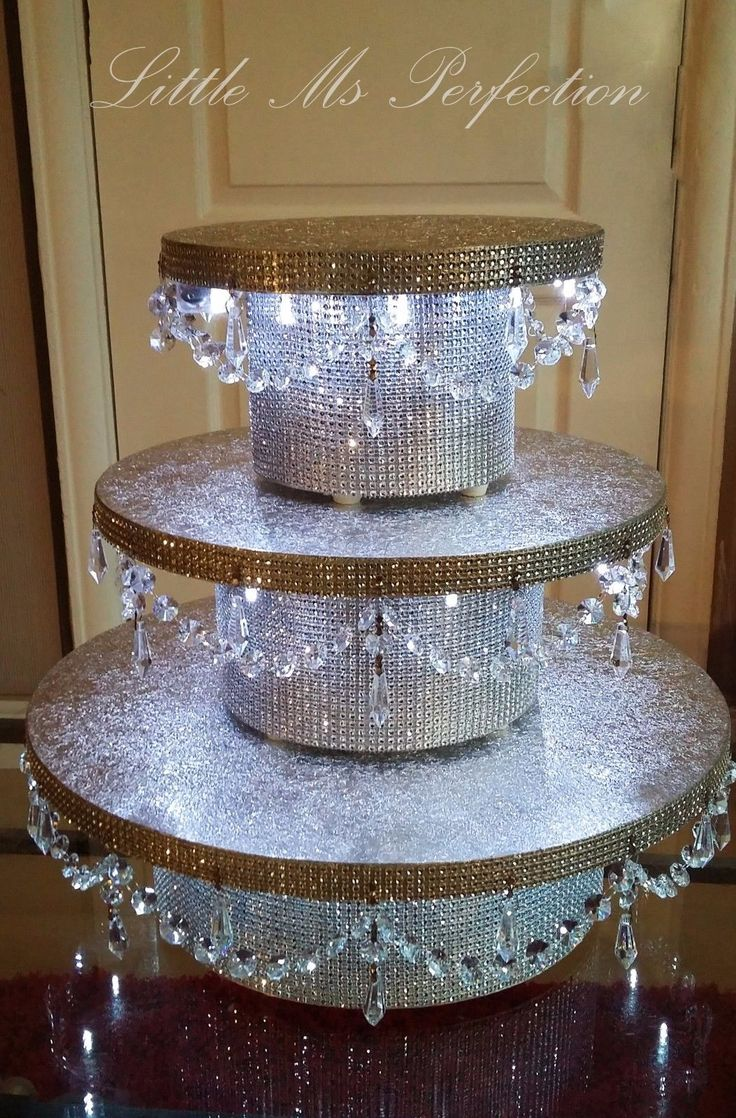 Details About Diamante Crystal Garland Led Light Up Wedding Cake Stand Pedestal Gold Silver In