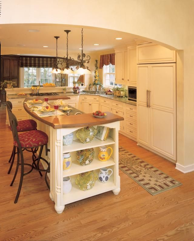 Contrasting Island Pear Colored Walls Cherry Furniture