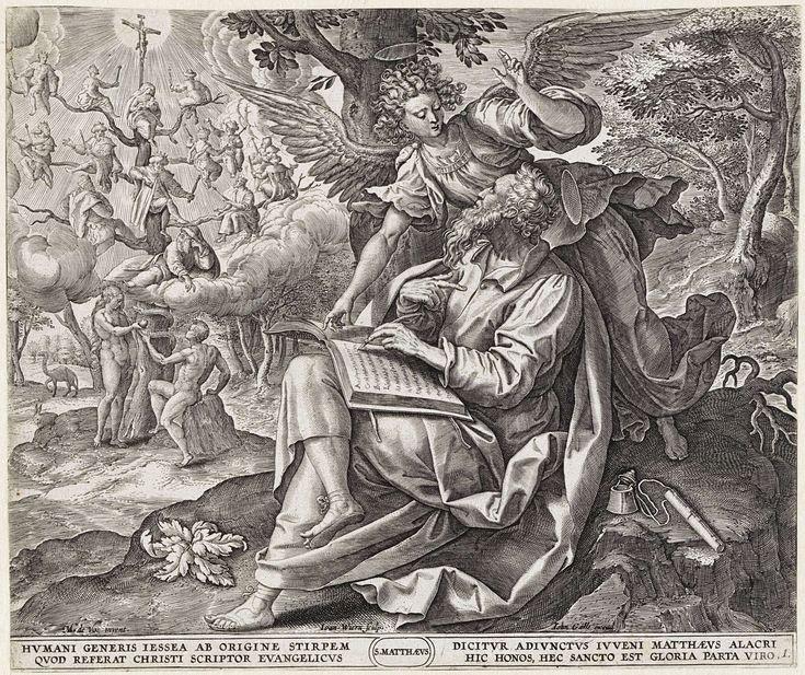Johannes Wierix | Evangelist Matteüs, Johannes Wierix, Joannes Galle, 1585 | De evangelist Matteüs schrijft zijn evangelie. Hij zit onder een boom. De engel staat achter hem. Op de achtergrond Adam en Eva aan de voet van de boom van Jesse. In de marge een vierregelig onderschrift, in twee kolommen, in het Latijn.