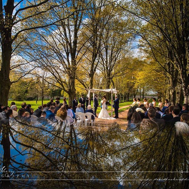 You wouldn't be able to tell by the photo but it was a little bit chilly in the wind on Sunday for the #wedding of Kyle & @aleahhazan at @belcroft.estates but the sun was out and these two fabulous people got married.