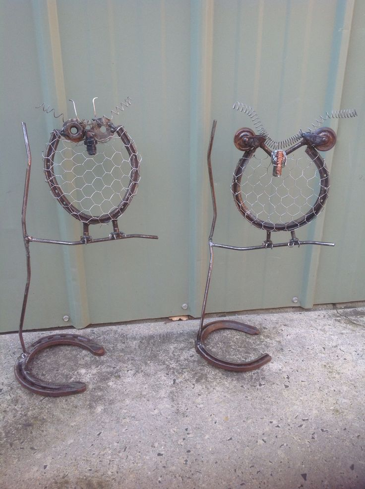 Recycled metal owls - made by Fiona Verhagen