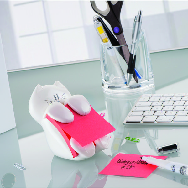 Post-it® Pop-up Notes Cat Dispenser for 3 in x 3 in Notes- Holds 3 in x 3 in Post-it Notes, a fun #dispenser, Unique design that adds purrrfect personality to your #office workstation. Great for gift-giving!