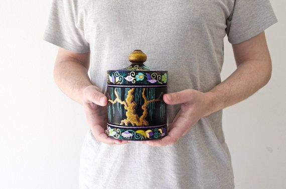 Wooden box Wisdom of Japan / Hand painted jewelry box / by LekaArt, $57.00