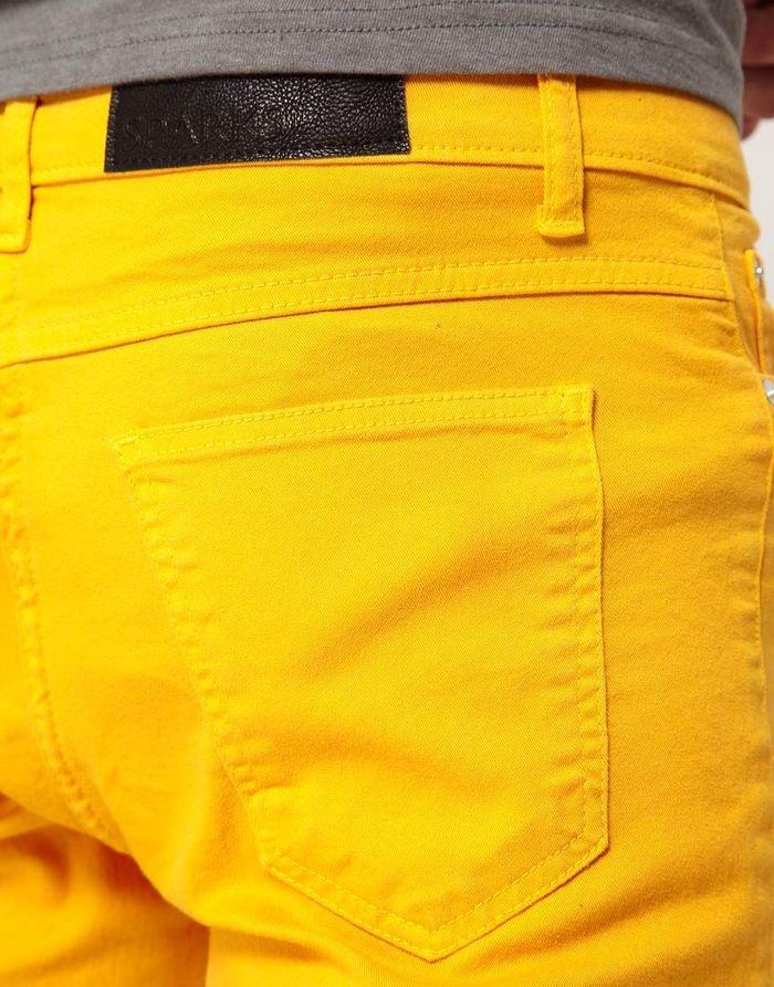 желтые джинсы + серый верх