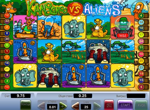 Gambling slot Kangaroo vs Aliens for money. Online slot Kangaroo vs Aliens will immerse players into a fantastic world where kangaroos play the role of defenders of the planet, which is trying to capture the aliens. There are 5 reels and 25 paylines. There are signs of Wild and Scatter. With the latter, you can earn 10 free spins. There is