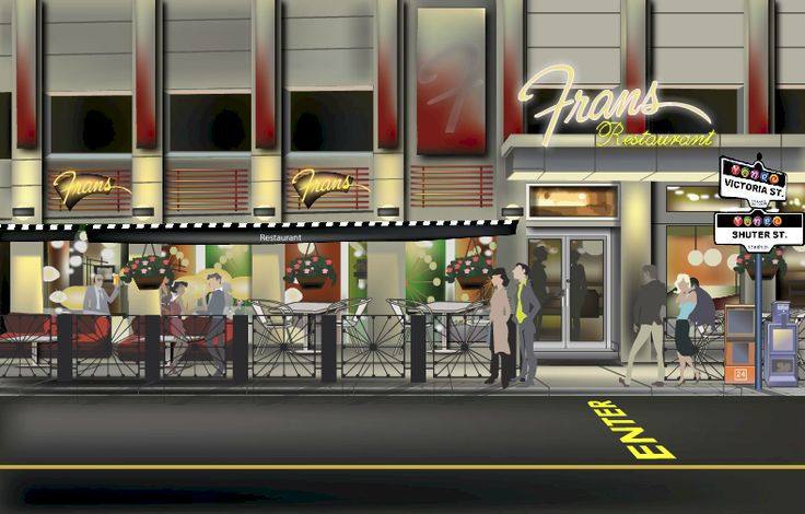 Fran's Restaurant (Victoria and Shuter location). 24 hour diner chain - a Toronto institution.