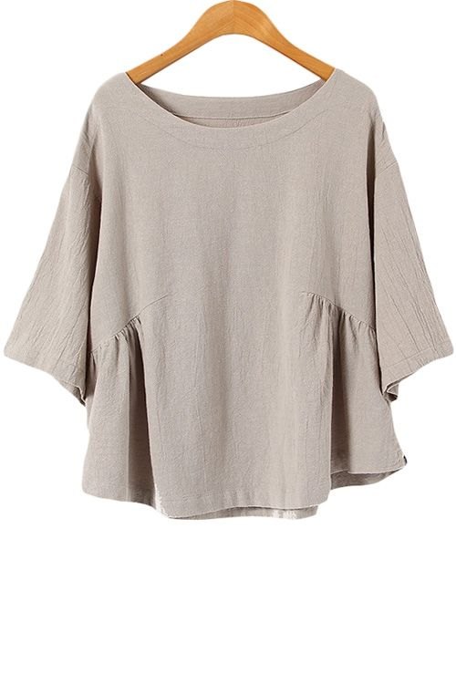 Half Sleeve Solid Color Blouse GRAY: Blouses | ZAFUL