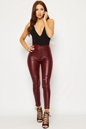 30840dc5c6d3 Nadine Faux Leather High Waist Ripped Skinny Jeans in 2019 | My ...