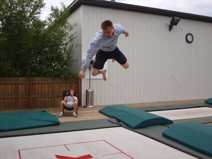 Greg Roe, Canadian trampolinist, enjoys our Super Quad Trampoline.