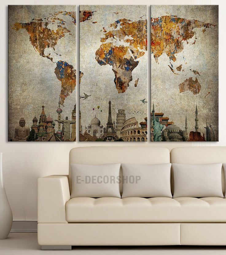 Canvas Print WORLD MAP and Wonders of the World on Old Paper - Map Canvas Painting