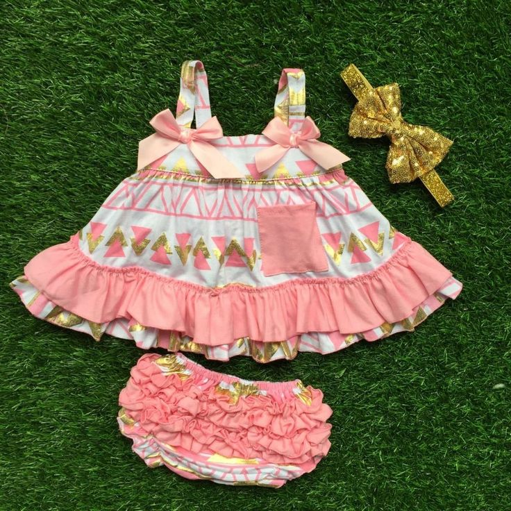 baby clothing | Little girls boutique clothing sets infant girl clothes baby aztec bow pink and gold swing tops matching band