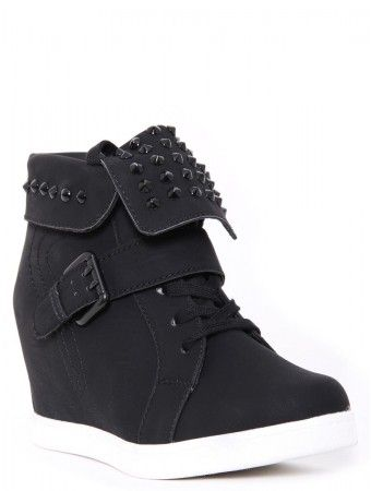 Studded Foldover Wedge Sneakers