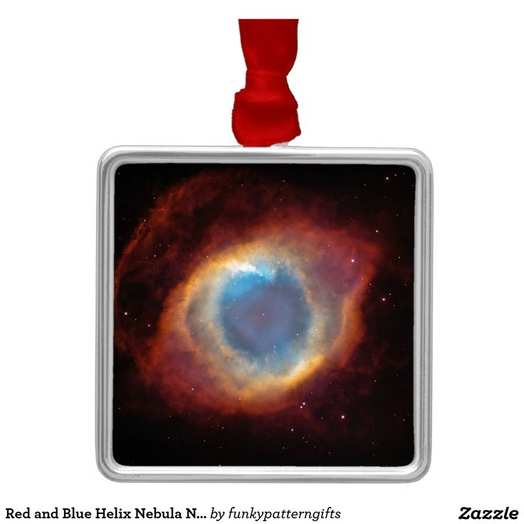 Red and Blue Helix Nebula NGC 7293 Planetary Fog Square Metal Christmas Ornament