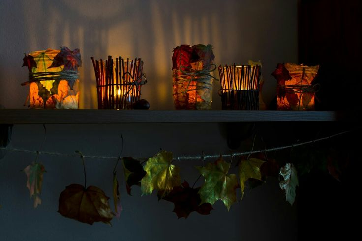 Autumn lights, natur candleholders