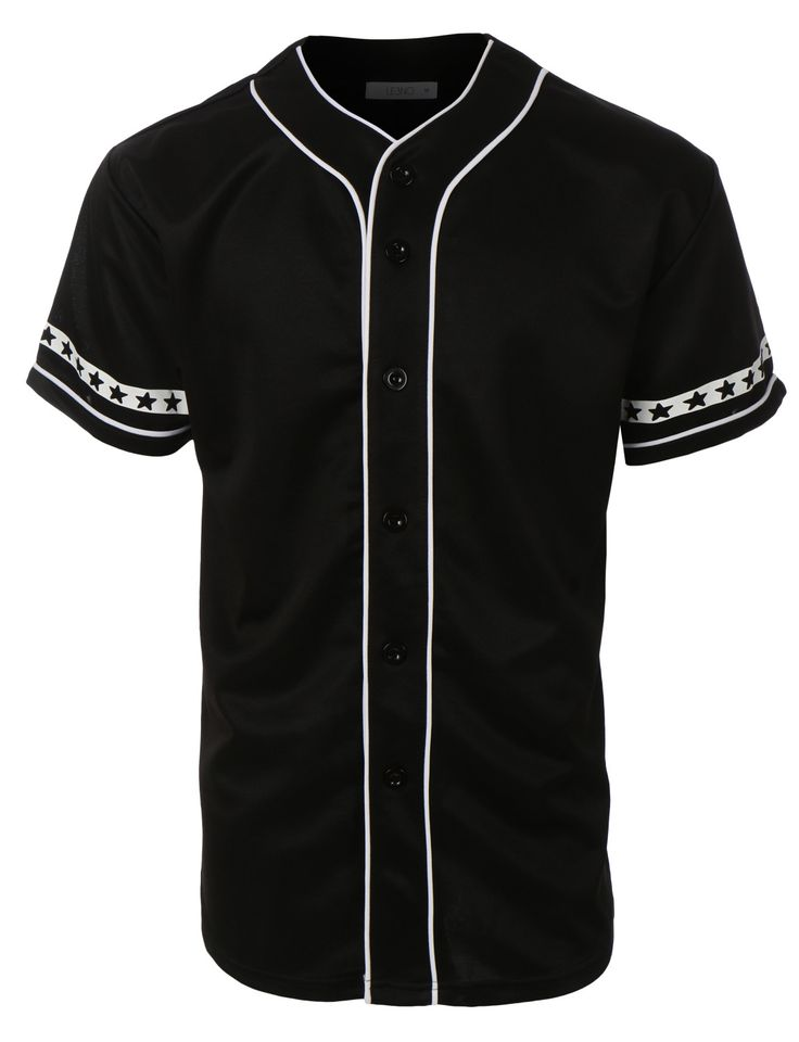 LE3NO Mens Varsity Short Sleeve Button Down Baseball Jersey with Design Print
