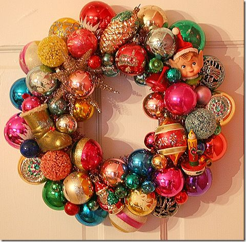 Pick up enough vintage ornaments at antique stores or flea markets to add to whatever ornaments you may have to make a keepsake wreath.