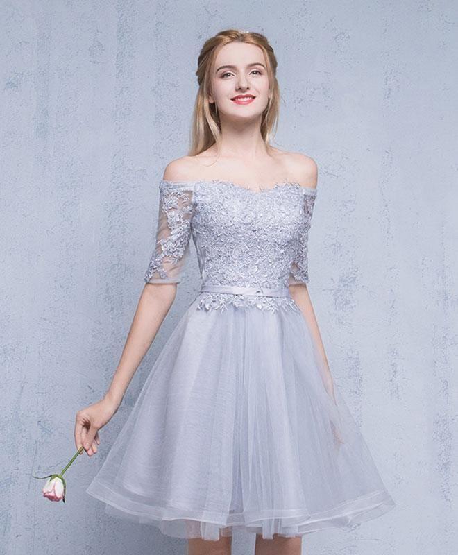 ce40e8f1313 Cute gray tulle lace off shoulder prom dress, graduation dress, short dress  for teens