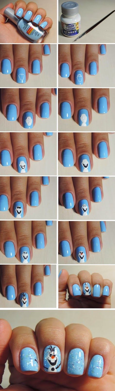 LoLus Fashion: Wonderful Frozen Nail Art Design Tutorials / Best LoLus Nails Fashion