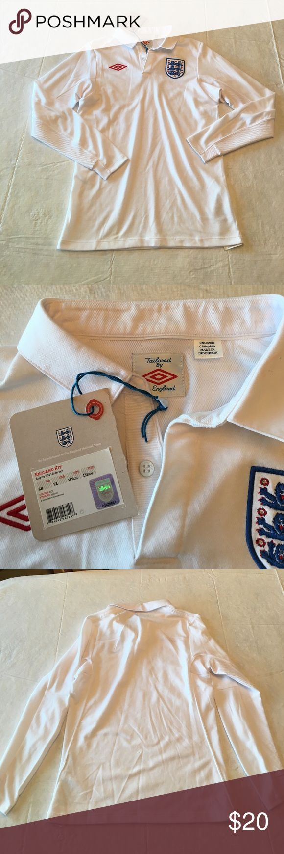 England jersey youth large white nwt NWT England jersey with collar no name on the back.    Box 7 Umbro Shirts & Tops Polos