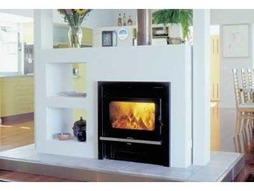 The Kemlan Coupe inbuilt, from Jetmaster, are large double-sided wood fireplaces that can be newly built in or inserted in existing fireplaces.