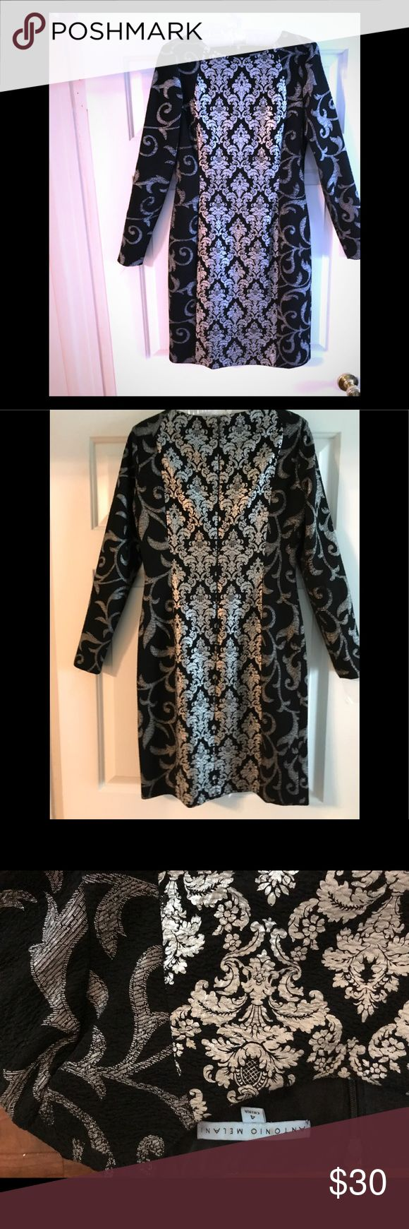 Black and silver dress Long sleeve A-line  dress with classic lines. Beautiful contrasting black and silver patterns. Calvin Klein Dresses Long Sleeve
