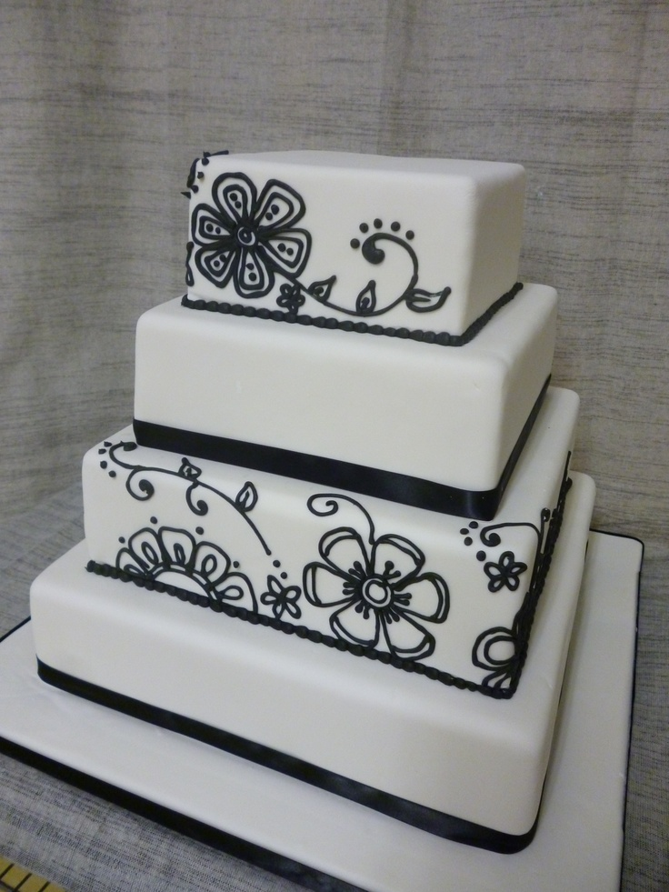 square black and white wedding cakes pictures%0A   tier square wedding cake  Black and white design that we call  Good Karma