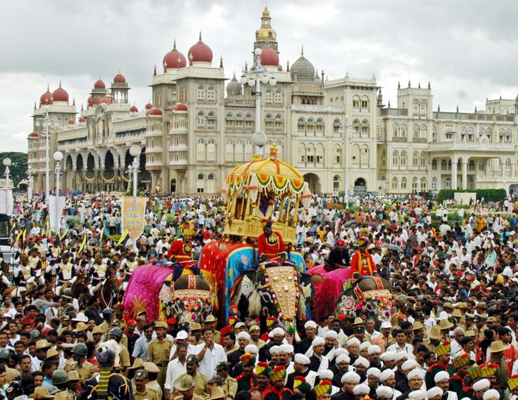On Vijayadashami, the traditional #Dasara procession (locally known as #Jumboo Savari) is held on the streets of #Mysore city. The main #attraction of this procession is the idol of the Goddess Chamundeshwari which is placed on a golden mantapa (which is around 750 kilograms of gold) on the top of a decorated #elephant. #MysoreDasara #festivalsinIndia #festiveseason #travelIndia