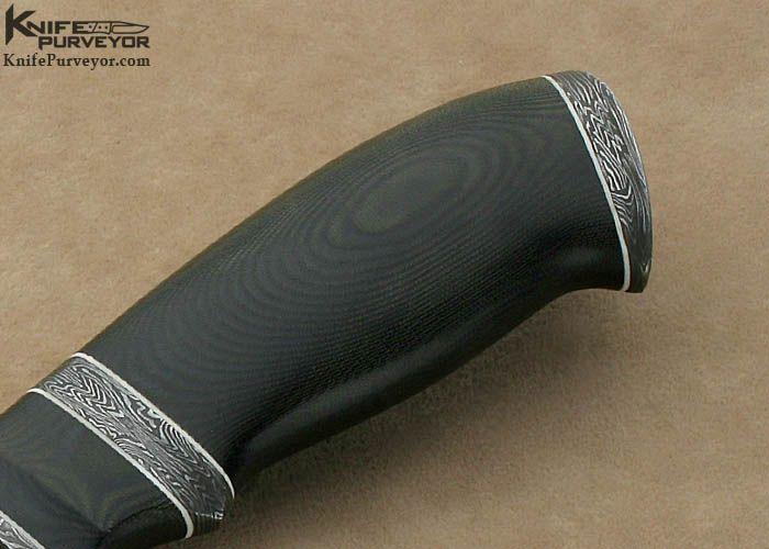 "Olamic Cutlery Custom Knife ""Suna"" Series Black Linen Micarta & ""Saturn's Rings"" Damascus Drop Point Hunter - Olamic Cutlery custom knife - image 1"