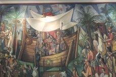 """""""Navio negreiro"""" (detalhe) - """"Slave ship"""" (detail)  Di Cavalcanti, Emiliano    Óleo sobre tela   (1961)    Museu Nacional de Belas Artes   Rio de Janeiro - Brasil    Dimensões da obra: 400 x 960 cm"""