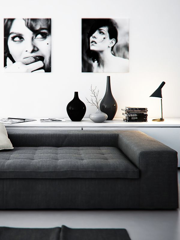 Vintage, simple living room design for the black & white lovers!