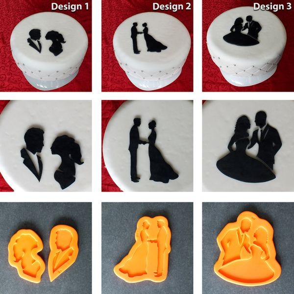 Silikonform Hochzeitspaar  Hochzeit Design3 Torte von Sillimolds auf DaWanda.com