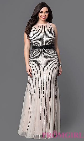 Long Beaded Plus Size Prom Dress by Faviana at PromGirl.com