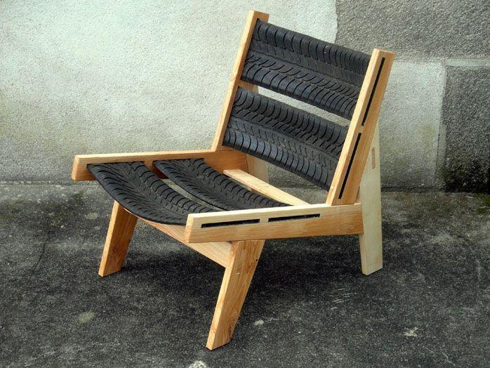Tire chair - Sillón de madera y fragmentos de cubiertas