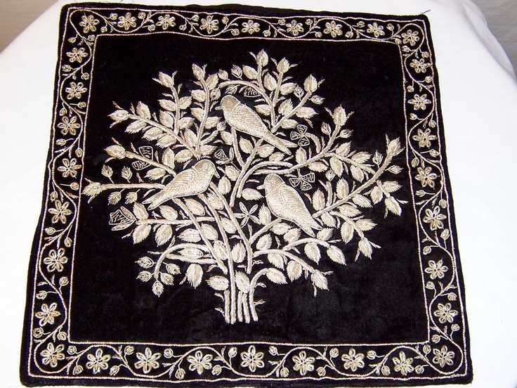 Extraordinary Indian Pillow Cover with Silver Metallic Embroidery