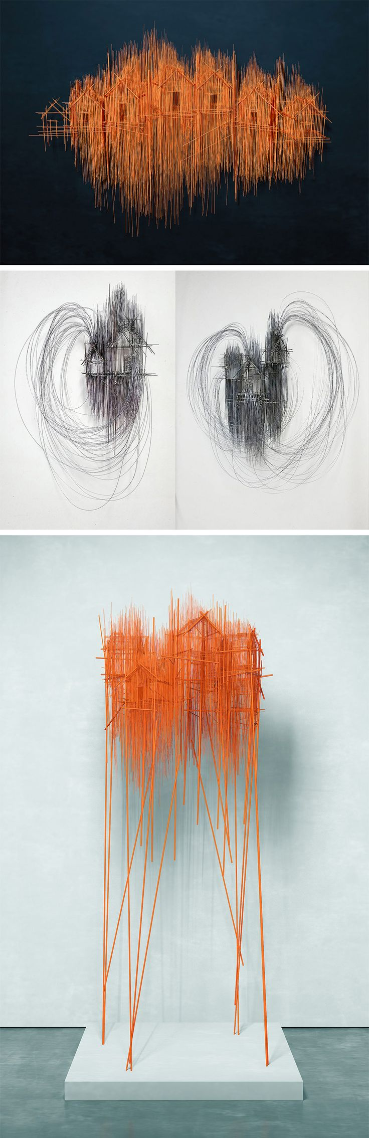Architectural Sculptures by David Moreno Look Like Wild Pencil Sketches