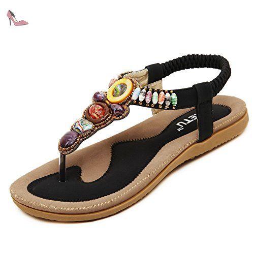 AgooLar Femme Divisé à Talon Bas Matière Souple Couleur Unie Sandales à Tong, Noir, 42 - Chaussures agoolar (*Partner-Link)